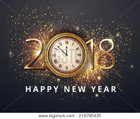 Vector stock Gold 2018 Christmas or New Year celebration premium luxury dark background with clock midnight and gold glittering shine  glitter firework sparkler decoration. Winter celebrate template