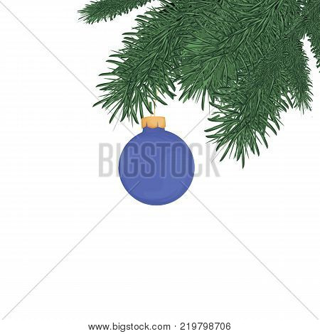 Christmas tree brunches illustration. Merry Christmas and Happy New Year. Design elements
