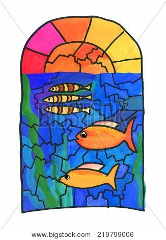 Drawing on the window. Stained glass with fish. Graphic work stylization for children's drawing. Graphic work stylization for children's drawing. Gouache on paper