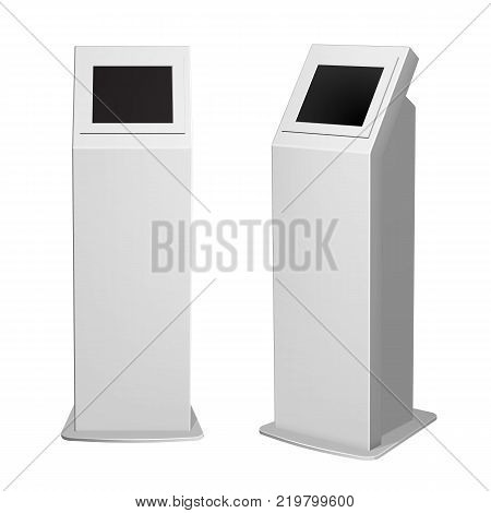 Set of metal payment terminal stand, ATM or display advertising, vertical white for indoor and outdoor use.