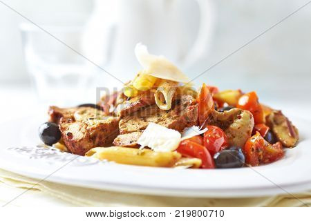 Penne with Pork Tenderloin, Cherry Tomatoes and Parmesan
