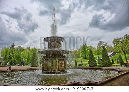 Peterhof, Saint-Petersburg, Russia - CIRCA June 2017: Fountain in the park  in Peterhof or Petergof in St. Petersburg