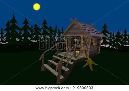 the wooden house of trolls on chicken legs in the dark at night