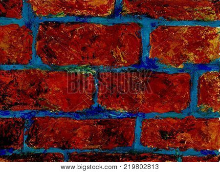 Brickwork texture. Fragment of a wall with a bricklaying with a blue cementing solution. Graphic work stylization for children's drawing. Gouache on paper. Palette knife
