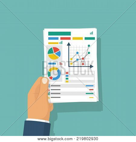 Document with charts and graphs business reports held in hand of businessman. Vector illustration flat design. Isolated on background. Paperwork concept. Data analysis, project management. Analyze graph.