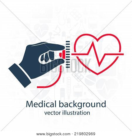 Cardiology concept. Cardiologist doctor. Stethoscope held in hand icon. Silhouette heart with life line, symbol healthcare. Medical background. Vector illustration flat design.
