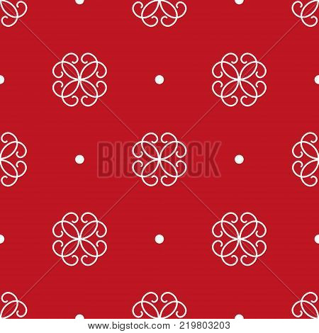 Seamless pattern. Stylized white flowers and points on the bright red background. Traditional ornament. Vector EPS10 illustration