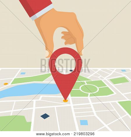 Hand holding map point pin. Map paper. Search on map. Paving route. Vector Illustration in flat design.  Isolated on white background.