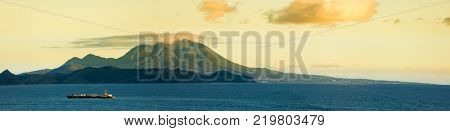 Panoramic view of Nevis Peak on the island of Nevis as seen from the sea.