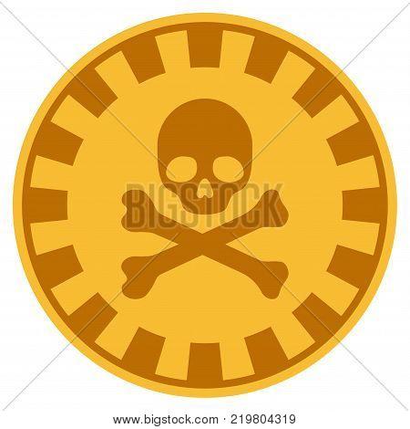 Crossbones Skull golden casino chip pictograph. Vector style is a gold yellow flat gamble token item.