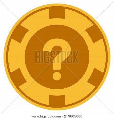 Query golden casino chip icon. Vector style is a gold yellow flat gamble token item.