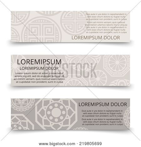 Oriental ornaments banners design - asian japanese chinese korean banner set. Collection of oriental posters. Vector illustration