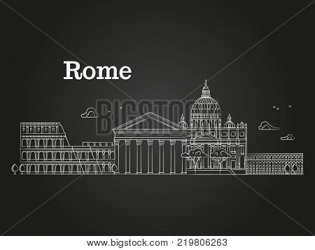 White linear Rome panorama with famous buildings, sights, Coliseum on black background. Vector illustration