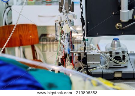 Operating room with surgical equipment and medical devices in modern operating room