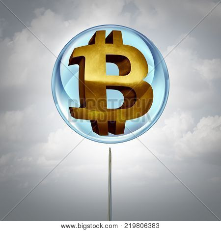 Bitcoin bubble symbol as a cryptocurrency or crypto currency in a balloon and a needle close to bursting the inflated icon as a financial metaphor with 3D illustration elements.