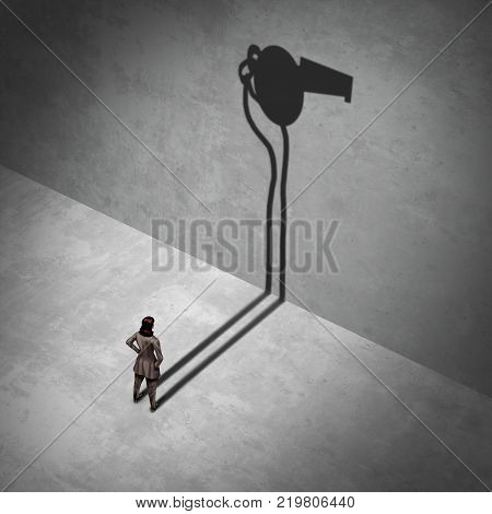 Female whistleblower and workplace legal complainer as a woman standing with a shadow of a whistle as an exposing work crime metaphor with 3D illustration elements.