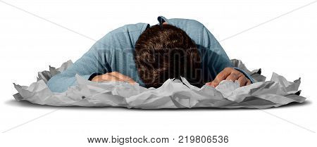 Tired at work as an exhausted worker or employee sleeping in a stack of papers as an office deadline or workaholic businessman symbol.