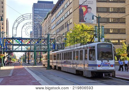 BUFFALO, NY, USA - JULY 22, 2011: Buffalo Metro Rail on Main Street at Church Street Station in downtown Buffalo, New York, USA.