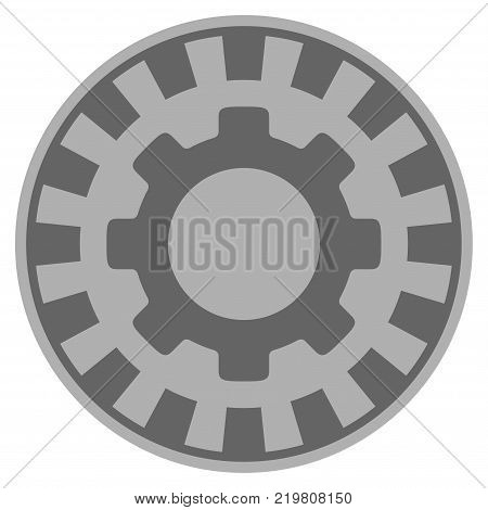 Gear gray casino chip pictograph. Vector style is a grey silver flat gamble token item.