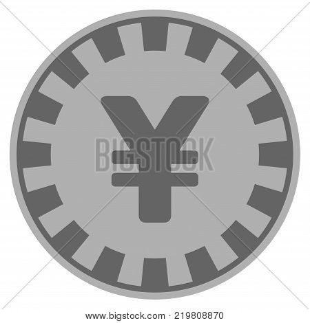 Yuan grey casino chip pictogram. Vector style is a grey silver flat gambling token symbol. poster