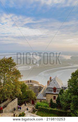 Mont-Saint-Michel Buildings during Low Tide. Mont Saint Michel, France - September, 29, 2014.