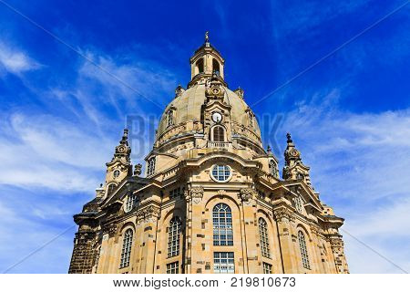 Dresden Frauenkirche (Church of Our Lady) is Lutheran Church of Saxony, Dresden, Germany. Baroque building, Protestant architecture, dome