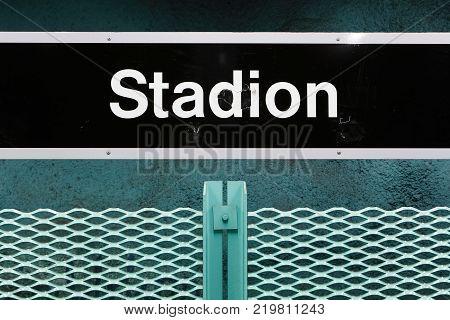 Stockholm Sweden - December 12 2013: Close-up of the Stockholm metro underground station Stadion signage at the platform.