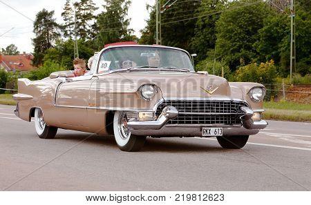 Vasteras Sweden - July 5 2013: One Cadillac Eldorado Convertible 1955 during the cruising parade at the Power Big Meet event