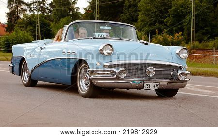 Vasteras Sweden - July 5 2013: One Buick Special 1956 during cruising parade at the Power Big Meet event