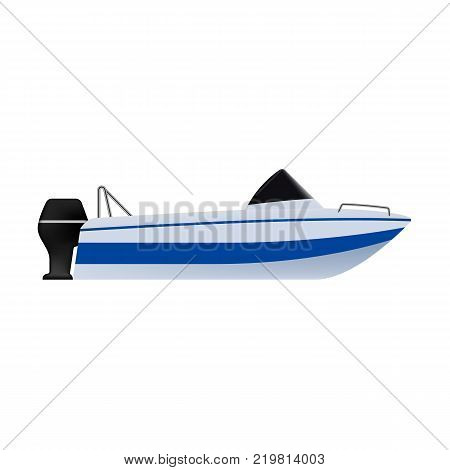 Motor boat or small boat with outboard motor. Sea or river ship, flat icon. Sea and river vehicles. Isolated on white background.