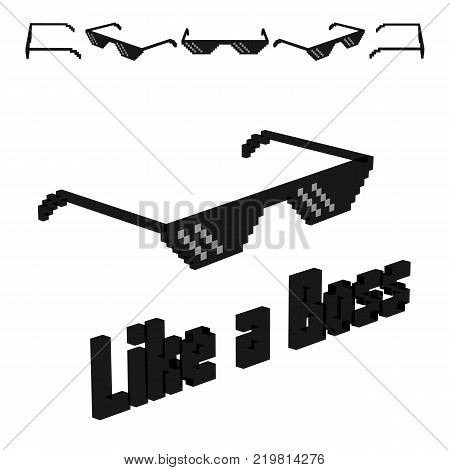 Sunglas like a boss. Isolated on a white background.
