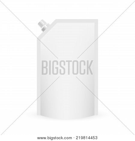Foil doy pack for food or drink, white and blank. Isolated on a white background.
