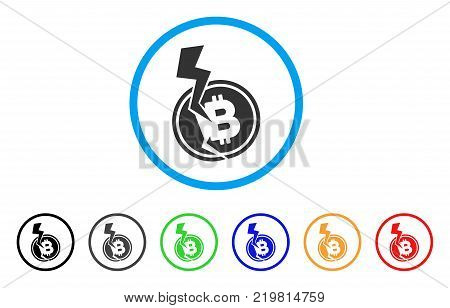 Bitcoin Crash Lightning rounded icon. Style is a flat grey symbol inside light blue circle with bonus colored variants. Bitcoin Crash Lightning vector designed for web and software interfaces.