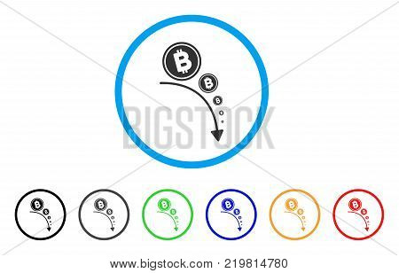 Bitcoin Deflation Trend rounded icon. Style is a flat grey symbol inside light blue circle with additional colored versions. Bitcoin Deflation Trend vector designed for web and software interfaces.
