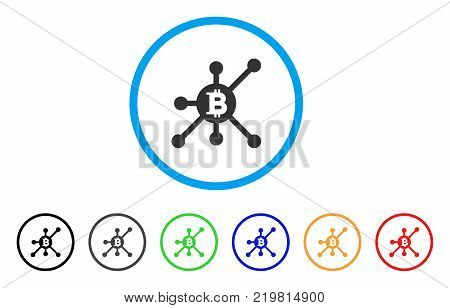 Bitcoin Full Node rounded icon. Style is a flat grey symbol inside light blue circle with bonus colored versions. Bitcoin Full Node vector designed for web and software interfaces.