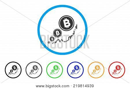 Bitcoin Inflation Chart rounded icon. Style is a flat gray symbol inside light blue circle with additional colored variants. Bitcoin Inflation Chart vector designed for web and software interfaces.