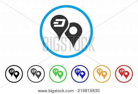 Dashcoin Map Pointers rounded icon. Style is a flat grey symbol inside light blue circle with additional color variants. Dashcoin Map Pointers vector designed for web and software interfaces.