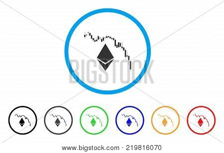 Ethereum Fall Chart rounded icon. Style is a flat gray symbol inside light blue circle with bonus colored versions. Ethereum Fall Chart vector designed for web and software interfaces.