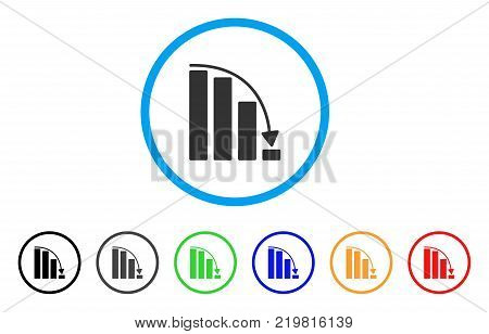 Falling Acceleration Bar Chart rounded icon. Style is a flat gray symbol inside light blue circle with additional colored versions.