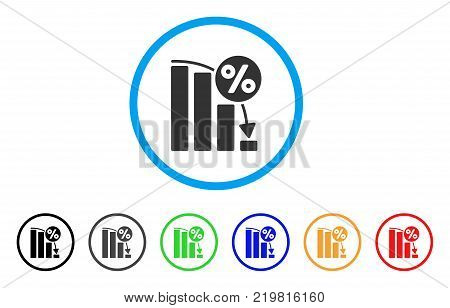 Falling Percent Bar Chart rounded icon. Style is a flat grey symbol inside light blue circle with additional color variants. Falling Percent Bar Chart vector designed for web and software interfaces.