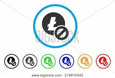 Forbidden Litecoin rounded icon. Style is a flat gray symbol inside light blue circle with bonus colored versions. Forbidden Litecoin vector designed for web and software interfaces.