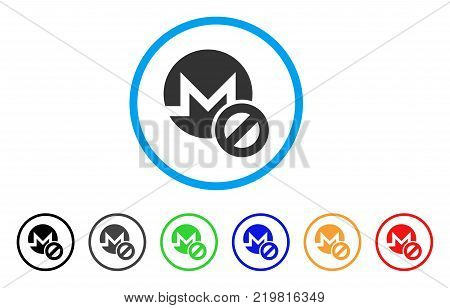 Forbidden Monero rounded icon. Style is a flat gray symbol inside light blue circle with bonus colored variants. Forbidden Monero vector designed for web and software interfaces.