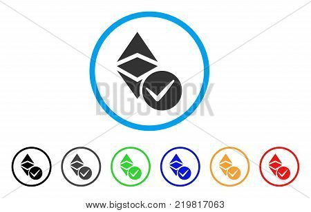 Valid Ethereum Classic rounded icon. Style is a flat gray symbol inside light blue circle with bonus colored variants. Valid Ethereum Classic vector designed for web and software interfaces. poster