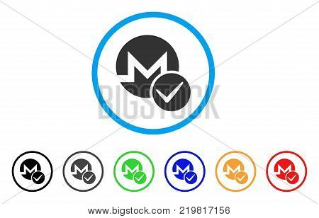 Valid Monero rounded icon. Style is a flat grey symbol inside light blue circle with additional color versions. Valid Monero vector designed for web and software interfaces.