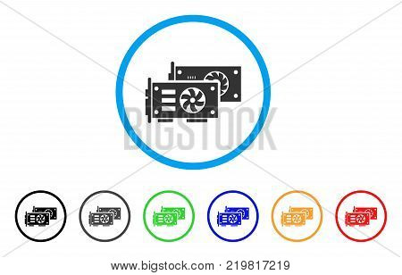 Video Graphics Gpu Cards rounded icon. Style is a flat gray symbol inside light blue circle with additional color versions. Video Graphics Gpu Cards vector designed for web and software interfaces.