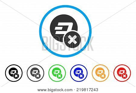 Wrong Dashcoin rounded icon. Style is a flat gray symbol inside light blue circle with additional colored versions. Wrong Dashcoin vector designed for web and software interfaces.