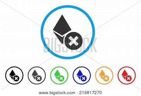 Wrong Ethereum Crystal rounded icon. Style is a flat grey symbol inside light blue circle with additional colored versions. Wrong Ethereum Crystal vector designed for web and software interfaces.