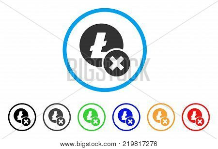 Wrong Litecoin rounded icon. Style is a flat gray symbol inside light blue circle with bonus colored versions. Wrong Litecoin vector designed for web and software interfaces.