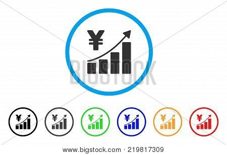 Yen Growth Trend rounded icon. Style is a flat gray symbol inside light blue circle with additional color variants. Yen Growth Trend vector designed for web and software interfaces.