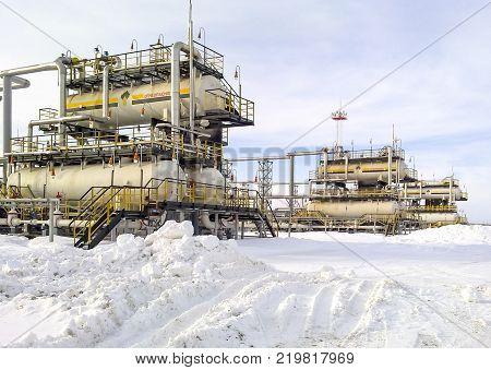 Russia, Nefteyugansk - January 24, 2016: Separator. Equipment for oil separation. Modular oil treatment unit. Bulite for separation